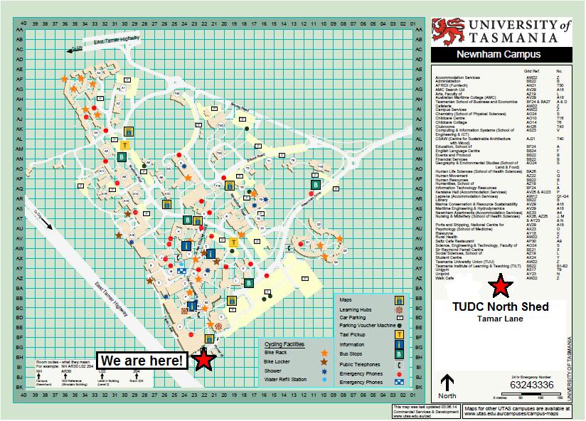 Utas Campus Map Where to find us | Tas Uni Dive Club
